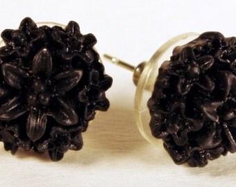 Black Flower Earrings, FREE US Shipping, Mums, Chrysanthemums, Posts, Fall, Autumn, Winter, Nickel-free