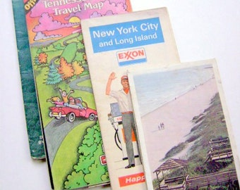 Four Vintage State Maps