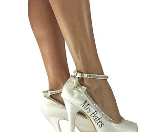 Ivory 4 inch High Heels for Bridal Wedding Shoes, Pumps with Bows, Rhinestone Bling and Mrs name and Date
