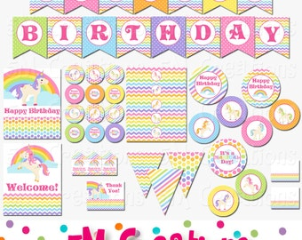 Unicorn Party Decorations - Rainbow Unicorn Birthday Party Package - Pony Banner, Cupcake Toppers -  Printable Package INSTANT DOWNLOAD Pdf