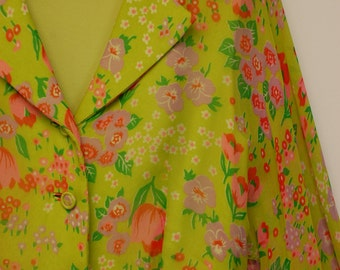 1960s/1970s Robert Courtney Green Floral Chiffon Pleated Dress with Collar