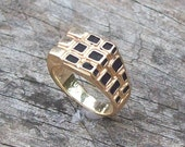 14K Yellow Gold Enameled, Mad Man style, Artisan Created, Signed Men's Ring - size 8.5 ~ 9.6 grams