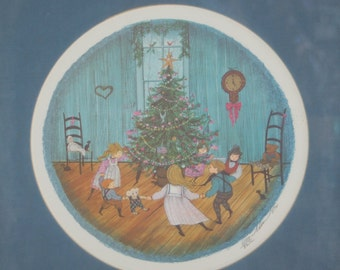 "P. Buckley Moss 1987 ""Christmas Dance"" Signed Christmas LTD Edition Print ~ Christmas Fun ~ Christmas Anticipation ~ Childhood Wonder"