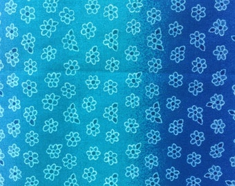 Blue Ombre Fabric - Turquoise and Blue Ombre Flower Print - Ombre Quilt Fabric - Blue Little Flower Print - Fabric Yardage