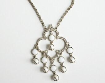 Vintage 60s 70s MOD Silver Tassel Bead Pendant Necklace Bold Vintage Jewelry