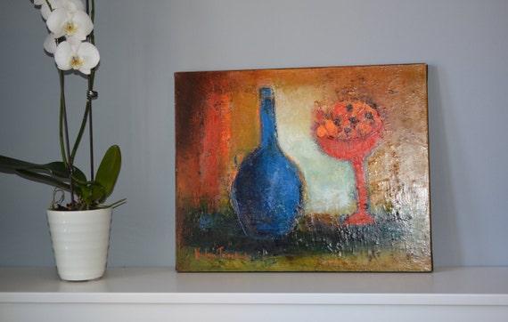 20x16 original oil on stretched canvas still life ~ fine art on Etsy ~    Canadian shop ~ blue bottle painted ~ Automn theme composition