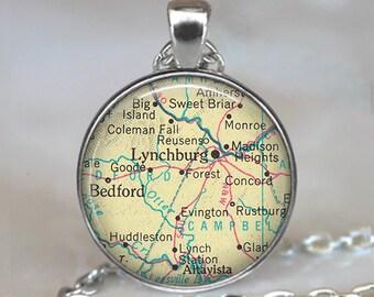 Lynchburg, Virginia map necklace, Lynchburg VA pendant, Lynchburg pendant, vintage map jewelry, map keychain, key chain