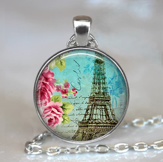 Teal Paris pendant, Paris necklace, Eiffel Tower pendant, Eiffel Tower necklace, Paris memento jewelry, Paris pendant, keychain
