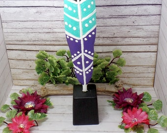 Bohemian Feather Statue - Bohemian Painted Feather Home Decor - Feather Statue - Feather Decor