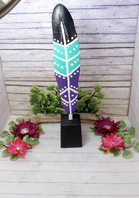 Bohemian Feather Statue - Bohemian Painted Feather Home Decor - Feather Statue - Feather Decor - Free US Shipping