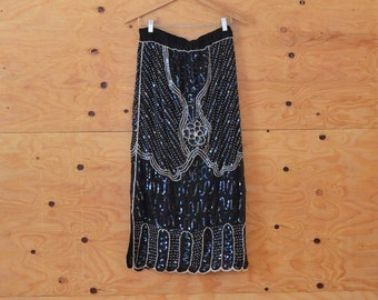 Vintage 80's Black Sheer Maxi Pencil Skirt With Elaborate Beading & Sequin Detail SZ L