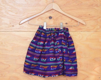 Vintage 70's Kids Girls Royal Blue & Rainbow Guatemalan Ethnic Striped A-line Skirt SZ 5yrs Kids Childs