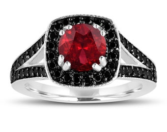 Red Garnet And Fancy Black Diamonds Engagement Ring 14K White Gold 1.76 Carat Halo Pave Handmade Certified