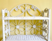 Vintage White Wicker Shelf, Double Shelves, Cottage Chic, Bathroom Storage