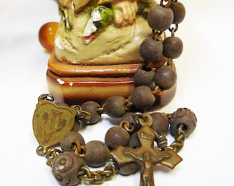 Vintage Rosary Wood carved beads Brass cross crucifix religious medals Prayer