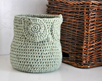 Rustic Green Owl Basket Crocheted Bin Yarn Holder Gender Neutral Woodland Nursery Decor Modern Home Organizer