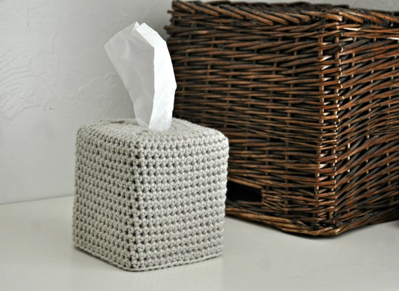 Modern Square Tissue Box Cover Beige Nursery Decoration Linen