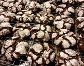 Double Chocolate Crackle Cookies, Crinkles, Crackles, Homemade Cookies, Edible Gift, Cookie Exchange, Cocoa, Holiday Treat, Marmar