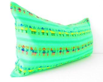 Mexican embroidered pillow, Tribal pillow, Mexico Pillow, long Lumbar pillow, Pillowcase aztec, Boho room Decor, bohemian pillow cover, lime