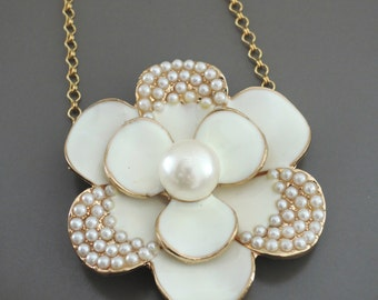 Statement Necklace - White Enamel Pearl Wedding Necklace Bridal Jewelry - Flower Necklace - Upcycle Necklace handmade