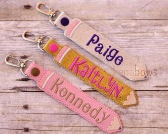 Personalized Name Tag, School Backpack Tag, Pencil Snap Tab, Key Fob, Key Chain, Teacher Gift, Kindergarten, 1st Grade, Boy, Girl