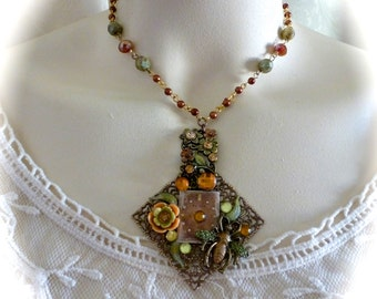 Neo-Victorian Pendant Necklace Garden in Fall Colors