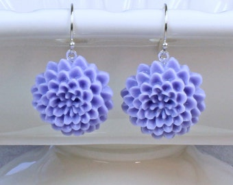 Purple Flower Earrings - Purple Dahlia Earrings - Periwinkle Earrings - Spring Earrings - Summer Earrings