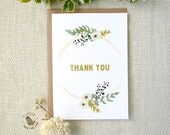 Botanical Thank you card. Floral thank you greeting cards. Wedding - Bridal Thank you. TK470