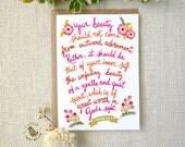Scripture Cards. Internal Beauty Card. 1 Peter 3:3-4. Women Scripture Card Encouragement. WC280