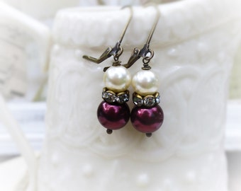 Anne Boleyn, Vintage Reclaimed Burgundy Red Pearls and Creamy pearls with Clear Rhinestones Assemblage Earrings by Hollywood Hillbil