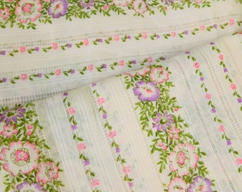 Blush Pink Floral Fabric Open Weave Cotton Shirting with Hot Pink, Purple and Green Flowers One Yard