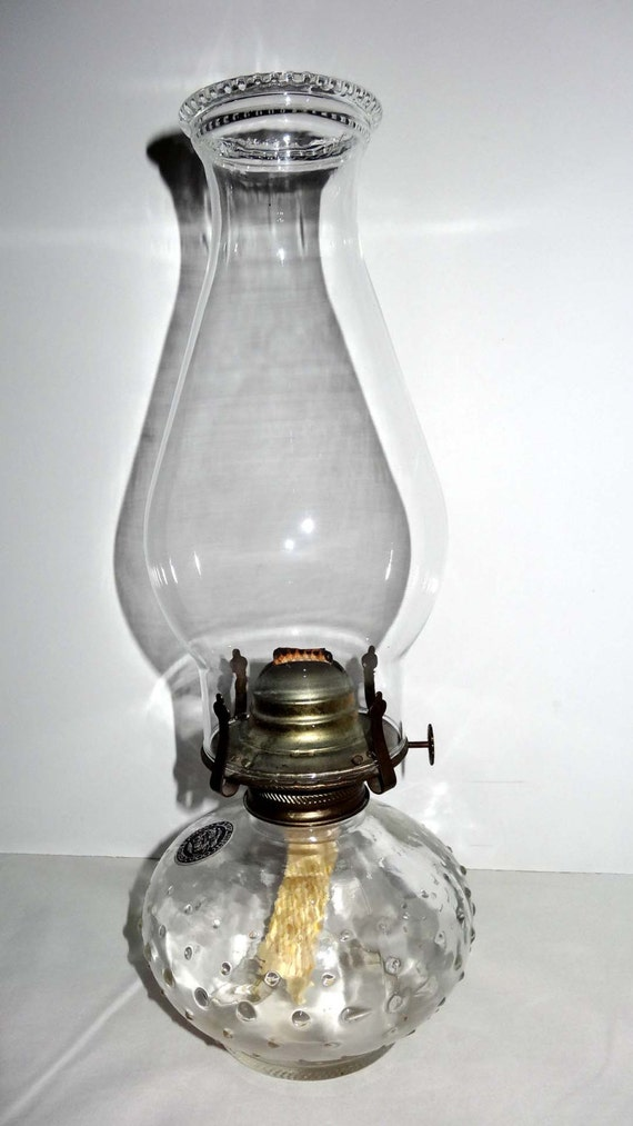 clear glass hurricane oil lamp bubbled base home and garden. Black Bedroom Furniture Sets. Home Design Ideas