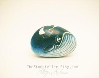 Whale  Handpainted rock painting, painted stone. miniature, ocean, sea             rock pebble fine art
