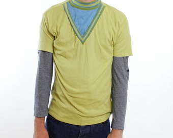 Vintage 60's high collar pullover, faux layered neck, V-neck, green & blue, pea green, Star Trek look - Small / Medium