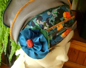 Womens Hat chemo hat Chemo Headwear soft Flapper teal and orange floral Chemotherapy Alopecia Beanie with Flower