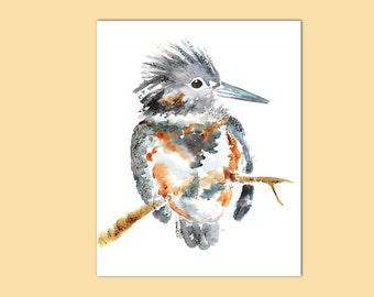 Kingfisher Art, Nursery Art, Bird Print, Watercolor Bird Painting,Childrens decor, kids Bedroom Art