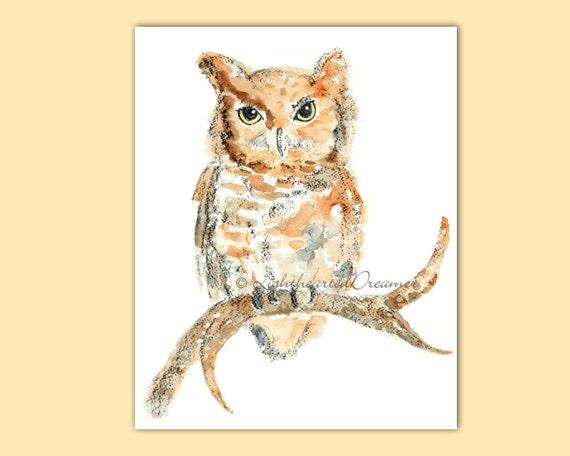 Owl Watercolor, Boy's Nursery Art, Woodland Nursery Print, Halloween Painting, Autumn Decor, Owl Print, Woodland Decor, Cute Halloween Decor