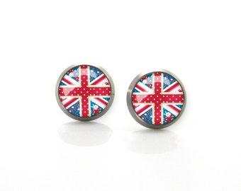 Red Vintage Union Jack Flag Flowers Dots Titanium Post Earrings | Hypoallergenic Earring Stud | Titanium Earring Stud Sensitive jewelry post