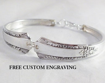 Spoon Bracelet, FREE ENGRAVING, Treasure 1940, Bridesmaid Gift, Silverware Bracelet, Bridesmaid Jewelry, Vintage Wedding, Personalized,