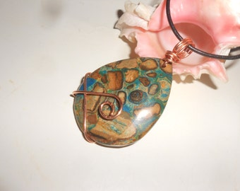 Blue Kambaba Jasper Pendant In Copper Reversible Hand Formed OOAK Fantasy Piece On Leather Cord
