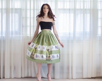 Vintage 1950s Novelty Print Skirt - 50s Skirt -  Fiets Voor Twee Skirt