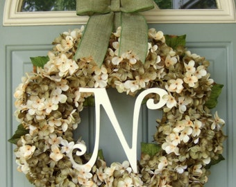 Summer Wreath Monogram Door Wreath