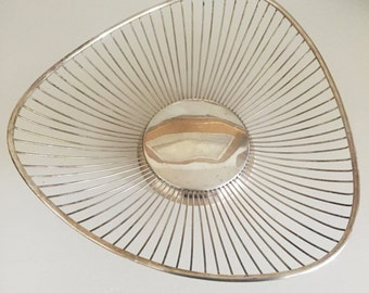 Masterpiece Italy Silver Plated Wire Bread Basket Mid Century 3 sided