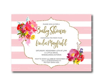 Pink Baby Shower Invitation | Floral Baby Shower invite | Invitation |  BabyShower | Faux Glitter  Printable 0507