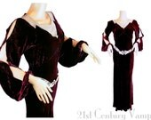 1930s Silk Velvet Dress. DRAMATIC Slit Balloon Sleeves. Art Deco Bias Cut Old Hollywood gown. Deep CLARET RED. Draped Rhinestone collar.