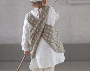 Girls clothes Linen pinafore apron Kids retro apron cross back Linen clothes Natural gray with Gold dots