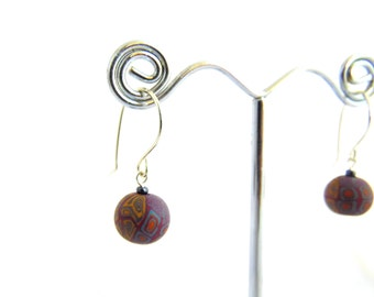 Millefiori Bead Drop Earrings, Mustard Yellow, Fimo Professional Polymer Clay and Sterling Silver, Supremily Jewellery