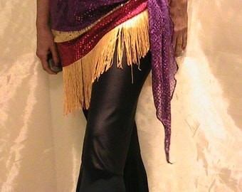 Belly dance hip scarf, hip skirt, hip belt in puple, gold and pink shimmer dot with gold fringe SM-MED