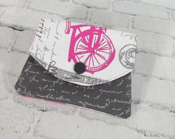 Small gray wallet - FREE SHIPPING - womens cotton wallet - small pink credit card holder - 3 pocket billfold - small womens billfold