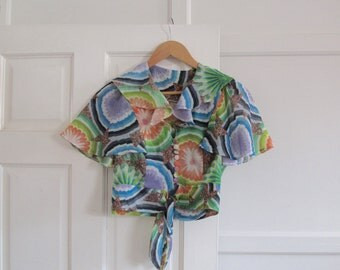 1970s psychedelic print blouse